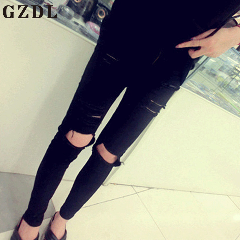 GZDL Summer Style Black Hole Ripped Trousers Women Leggings Cool Mid Waist Pants Female Skinny Slim Fit Casual Long Pants CL3747  2017solid black fashion women pants autumn rocker punk sexy style leggings street metallic femme casual slim pants