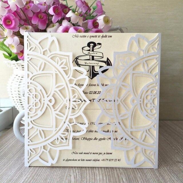 50pcs glossy paper craft modern design wedding invitations cards