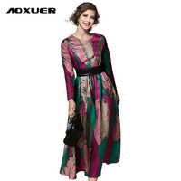 AOXUER High Quality Newest 2017 Spring Runway Dress Women S Long Sleeve Elegant Jacquard Long Dress