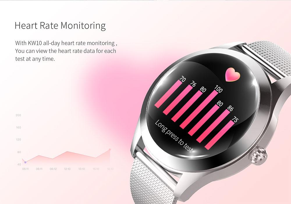 IP68 Waterdicht Smart Horloge Vrouwen Mooie Armband Hartslagmeter Slaap Monitoring Smartwatch Verbinding Ios Android KW10 Band 6