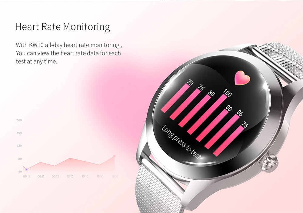 IP68 مقاوم للماء ساعة ذكية المرأة سوار جميل مراقب معدل ضربات القلب النوم رصد Smartwatch ربط IOS أندرويد KW10 الفرقة