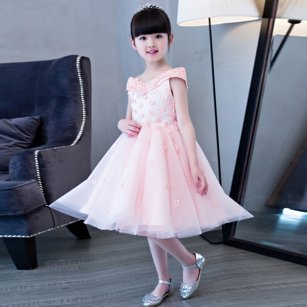 2017 New Arrival Korean Sweet Children Girls Wedding Birthday Party Pink Color Princess Dress With Flowers Design Pageant Wear 2018 new korean sweet autumn summer children baby birthday wedding party prom dress kids girls pink color flowers pageant dress
