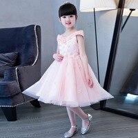 2017 Nouvelle Arrivée Coréenne Doux Enfants Filles Fête D'anniversaire De Mariage Rose Couleur Princesse Robe Avec Des Fleurs Conception Pageant Wear