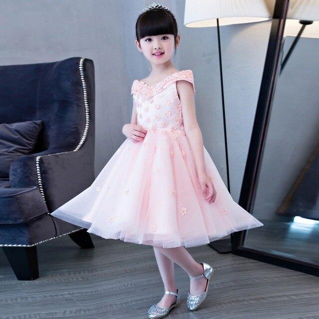 051126b0261bc 2017 جديد وصول الكورية الحلو أطفال بنات حفل زفاف عيد ميلاد حزب الوردي اللون الأميرة  اللباس