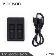 Vamson для полностью декодированного 2 канального зарядного устройства для Gopro Hero 8, 7, 6, 5, батарейный блок, камера VP910