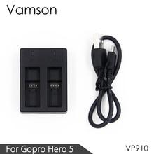 Vamson voor Volledig Gedecodeerd 2 Kanaals Lader voor Gopro Hero 8 7 6 5 Batterij Camera VP910