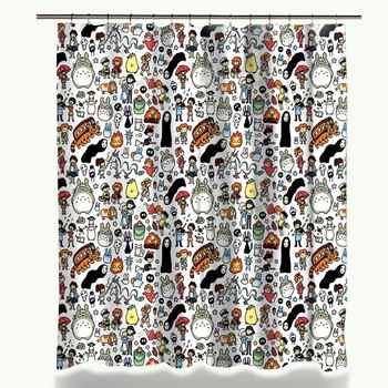 Miracille Totoro Cartoon Cute Shower Curtains Bathroom Decor Bath Curtains Waterproof Polyester Fabric Kid\'s Curtain 12hooks