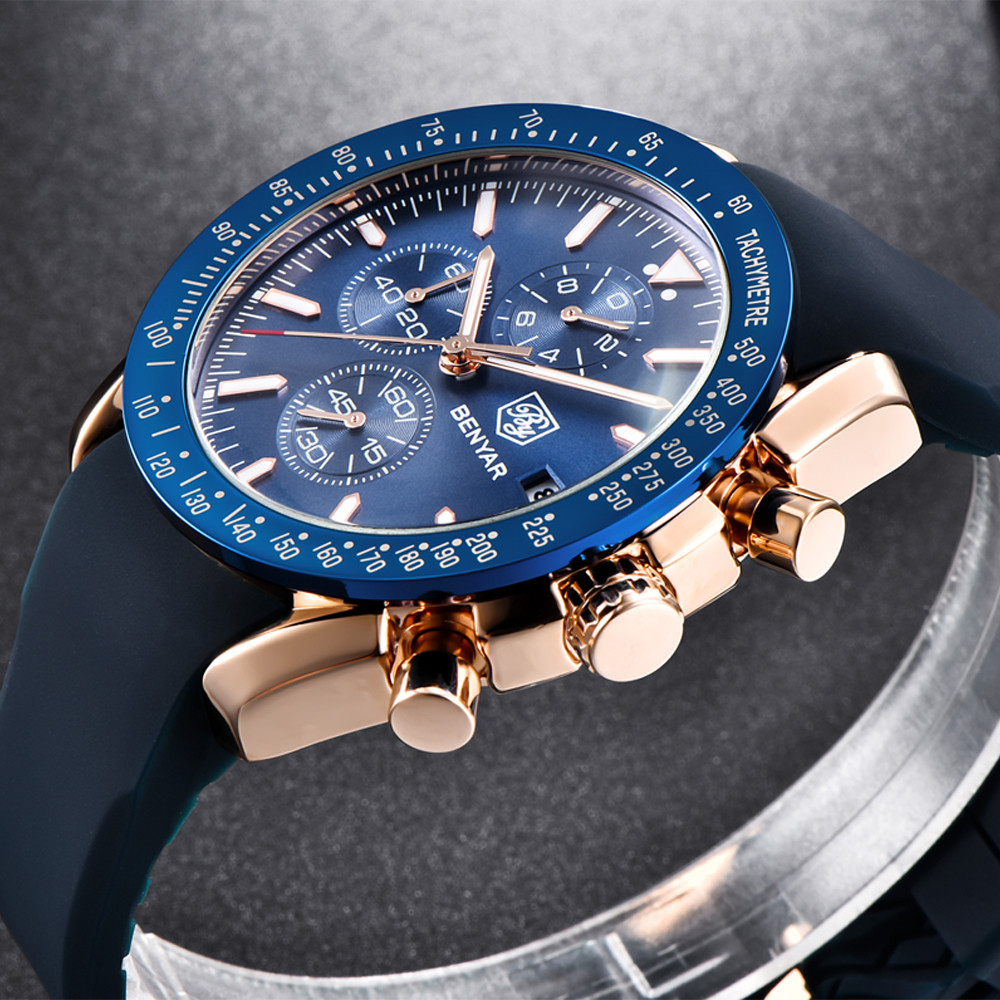 Silikon Chronograph Uhren Männer Benyar Top Marke Luxus Sport Handgelenk herren Uhr Männlichen Quart Uhr Uhr relogio masculino saat