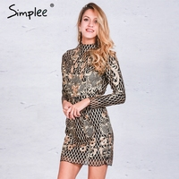 Simplee Sexy Backless Gold Sequin Dress Women Elegant Floral Plaid Bodycon Dress Autumn Winter Party Short