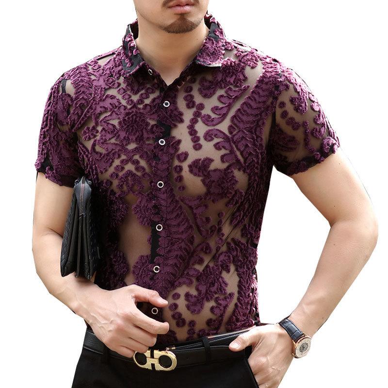 Loldeal Luxury Transparent Shirt Sexy Silk Velvet Short Sleeve See Through Lace Shirt Burn Mesh Sexy Prom Marriage Event Shirt