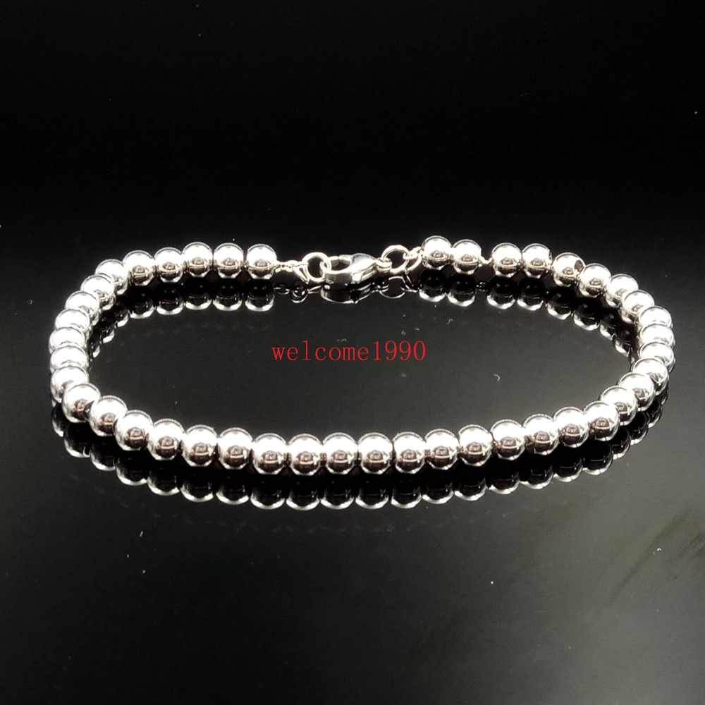 Hot selling design Silver Stainless Steel Solid Smooth Ball Beads Chain Link Bracelet Bangle 6mm/8mm for women men