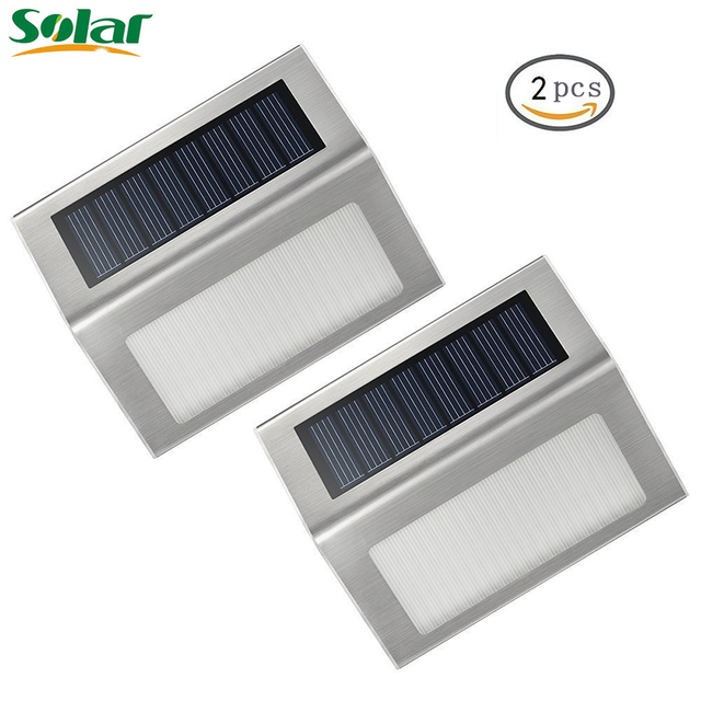 2pcs/Pack Solar Stair Step Light Outdoor Stainless Steel LED Solar Step  Lamp Illuminates Outdoor