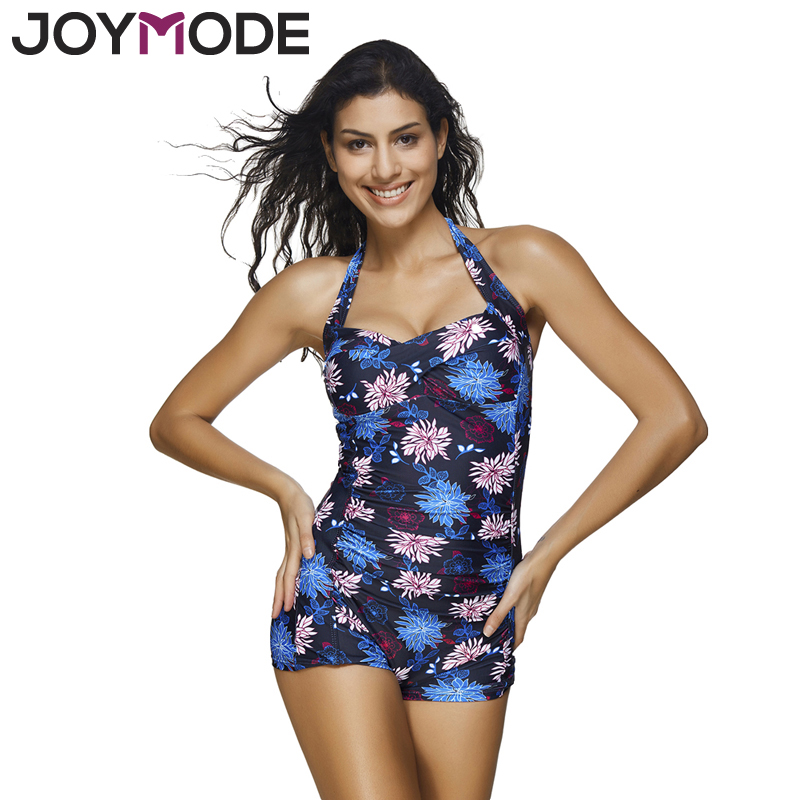 JOYMODE Print Swimwear Women 2017 Sexy Bandage Suit Retro Floral Bathing Suit Swimsuit Push Up Plus Size 4XL Summer Beachwear -E women plus size tankini set navy blue floral bathing suit sexy triangle bottom bikini push up swimwear female tankini swimsuit