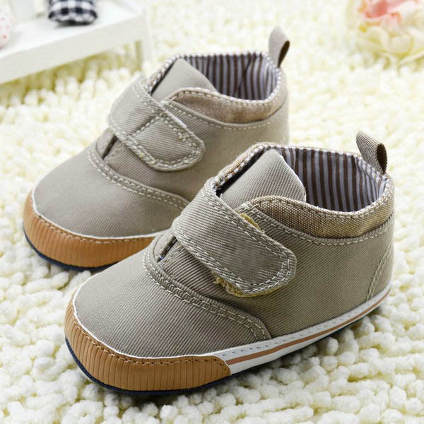 Newborn Baby Boys Cotton Ankle Canvas High Crib Shoes Casual Sneaker Toddler First Walkers 4