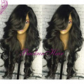 hot sale malaysian synthetic lace front wig Body Wavy Glue less lace front wigs with bangs Brazilian lace front wig in stock