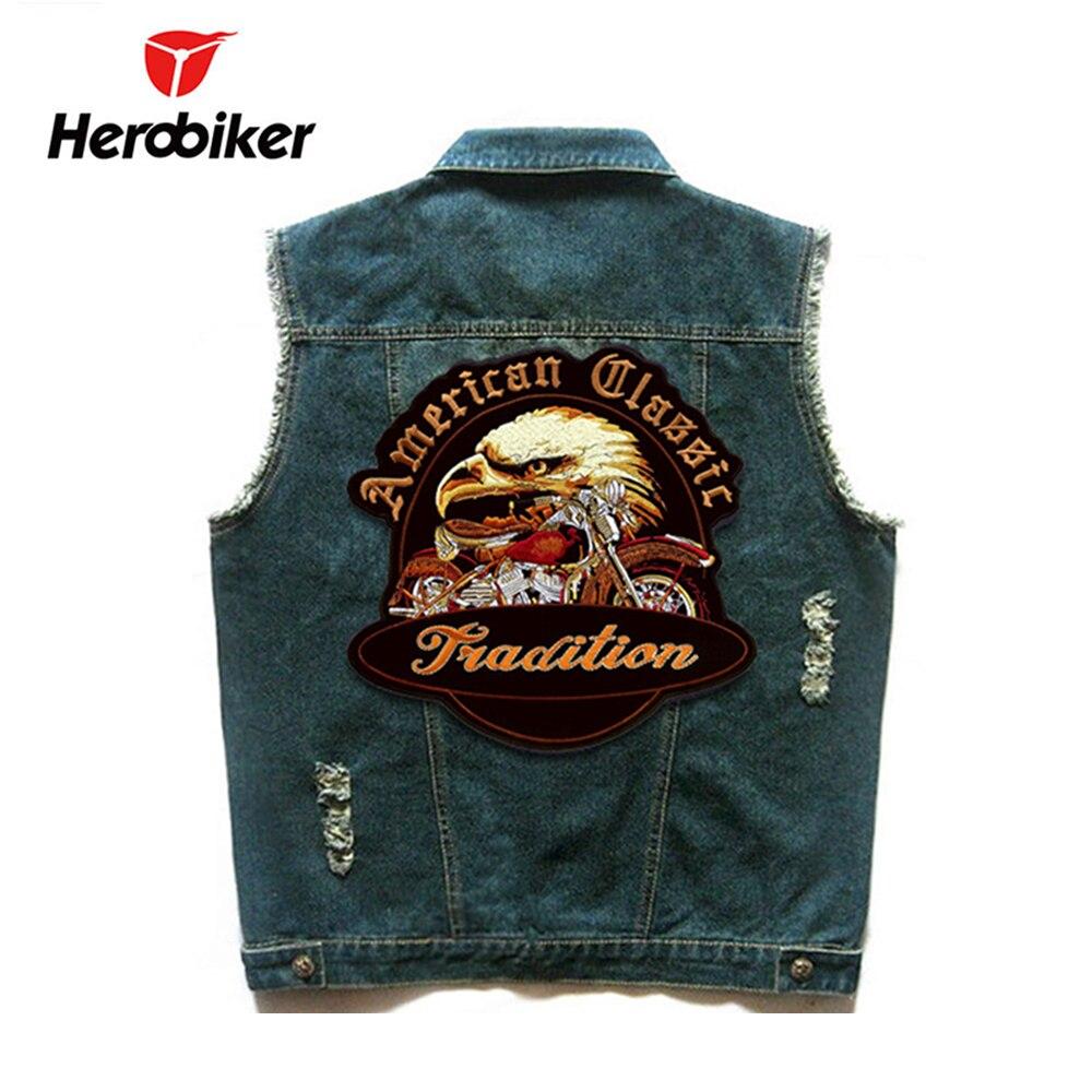 HEROBIKER мотоцикл жилет Для мужчин локомотив ретро Винтаж мигает джинсовый жилет Motorsiklet хип-хоп знак Безопасности Куртка Мото жилеты