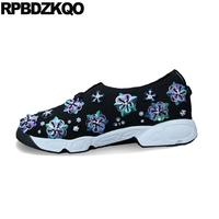 embroidery women flower ladies beautiful flats shoes diamond trainers black embroidered mesh wedge sneakers floral high quality