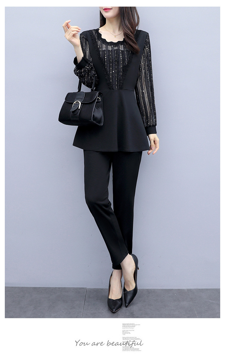 Plus Size Autumn Black Two Piece Sets Outfits Women Long Fake Two Pieces Tops And Pants Suit Elegant Korean Ol Style 2 Piece Set 36