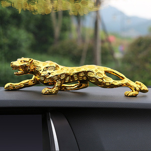 Car Ornaments Leopard Figurine Cool Auto DEcor Automobiles Interior Dashboard Resin Crafts Home Decoration Accessories Gift(China)