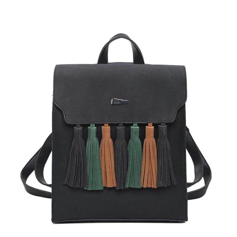 Fashion Tassel Women Bag 2017 Laptop Backpack School Bag PU Leather Backpack Women Square backpacks for