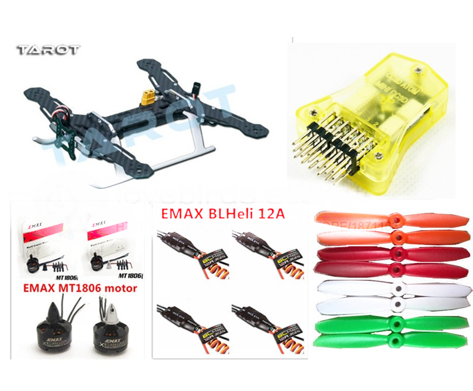 DIY FPV mini drone race quadcopter Tarot250 frame + mini CC3D + EMAX MT1806 2280KV motor + EMAX blheli 12A ESC+ 5045 propellers diy fpv mini drone qav210 zmr210 race quadcopter full carbon frame kit naze32 emax 2204ii kv2300 motor bl12a esc run with 4s