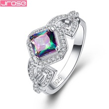JROSE Gorgeous Fashion Princess Queen Jewelry Pink White Rainbow Mystic Cubic Zircon Silver Ring Size 6 7 8 9 Free Shipping Gift