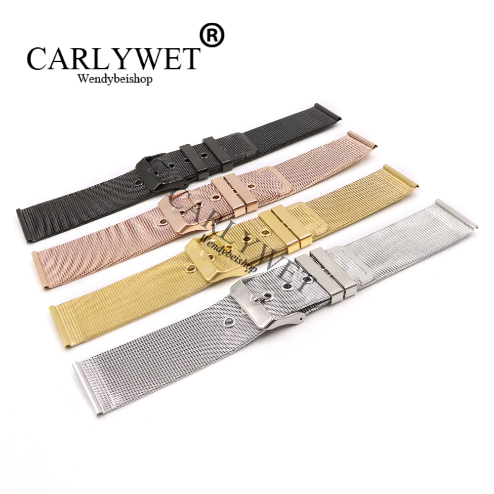 CARLYWET 20 22mm Silver Black Rose Gold Stainless Steel Replacement Mesh Wrist Watch Band Strap Bracelet With Polished Buckle ysdx 398 fashion stainless steel self stirring mug black silver 2 x aaa