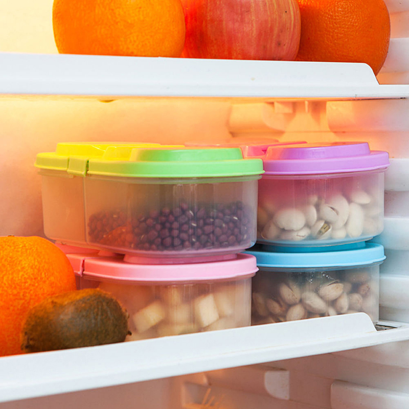 New Fresh Fruit Snacks Storage Double Cell Clamshell Crisper Plastic Kitchen Container Sauce Food Box storage containers in Bottles Jars Boxes from Home Garden