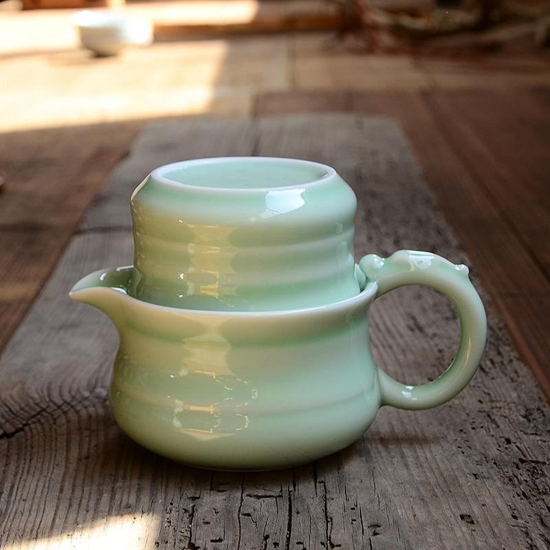 Quik cup 1 pot of 1 cup office and travel teaset hand pot teacup ceramic teapot Kung Fu tea set celadon convenient puer teapot
