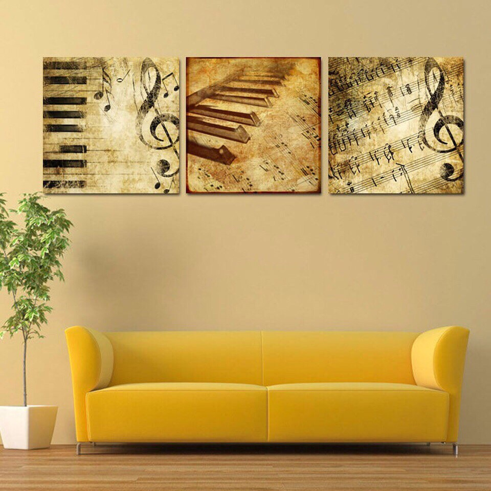 Framed HD Print 3 Pcs Canvas Wall Art Abstract Piano Painting Modern Home  Decor For Living Part 63