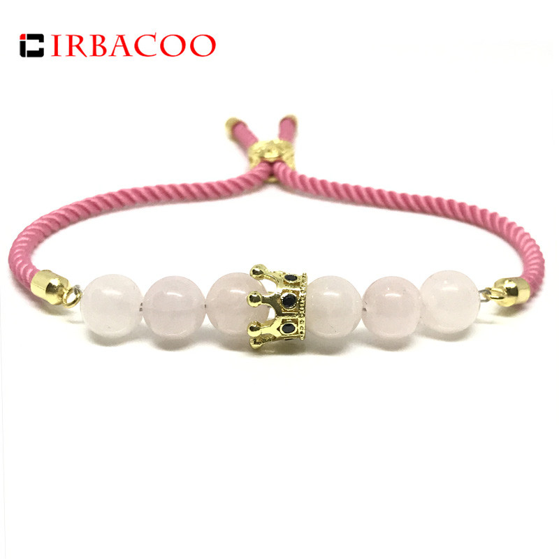 IRBACOO 2019 New Fashion Women Bracelet CZ Crown Charm Pink Crystal With Pink Lucky Cord For Womens  Jewelry Gift