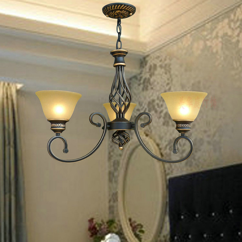 Nordic Retro Chandelier E27 Bulb 110V-220V Suspension Home Lighting Living Loft Style Led Antique Iron Luxury Chandeliers hghomeart country style antique iron chandelier e27 led bulb 110v 220v vintage lamp home lighting modern dining room chandeliers