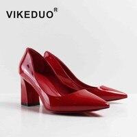 VIKEDUO бренд ручной работы туфли лодочки Для женщин красный из натуральной кожи Обувь на высоких каблуках женские свадебные деловая модельна