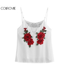 COLROVIE White Floral Cami Top Women Vintage Rose Patch Lace Insert Sleeveless Summer Tops 2017 Fashion Sheer V Neck Camisole