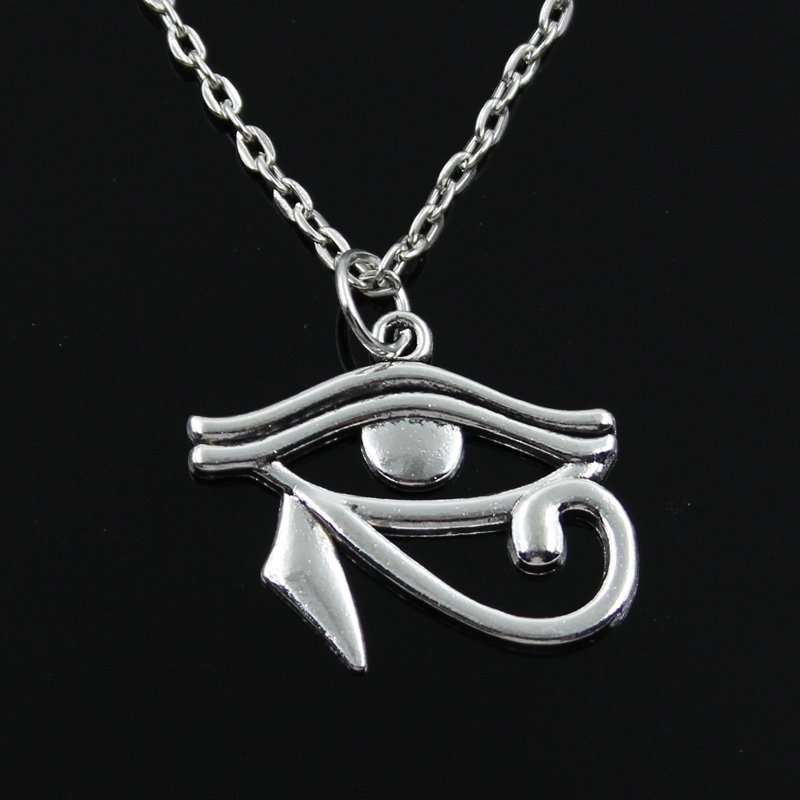 Jewelry Gift Short Pendants Silver Necklace Horus Cross-Chain Ancient Egypt Womens Long