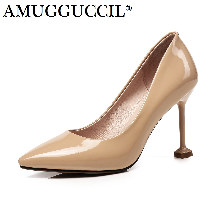 2018 New Plus Big Size 33-43 Genuine Leather Black Nude Fashion Sexy High Heel Spring Female Lady Shoes Women Pumps D1189 brand new hot sexy women nude pumps black pink apricot ladies formal shoes high heels aqb 2 plus big size 43 10