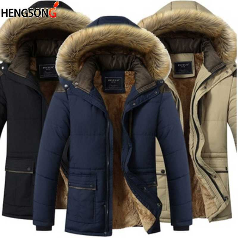 Winter Thick Warm Male Muti Color Patchwork Hooded Stand Collar Coat Jackets Pockets Casual Coat Men Outwear Jackets Plus Size