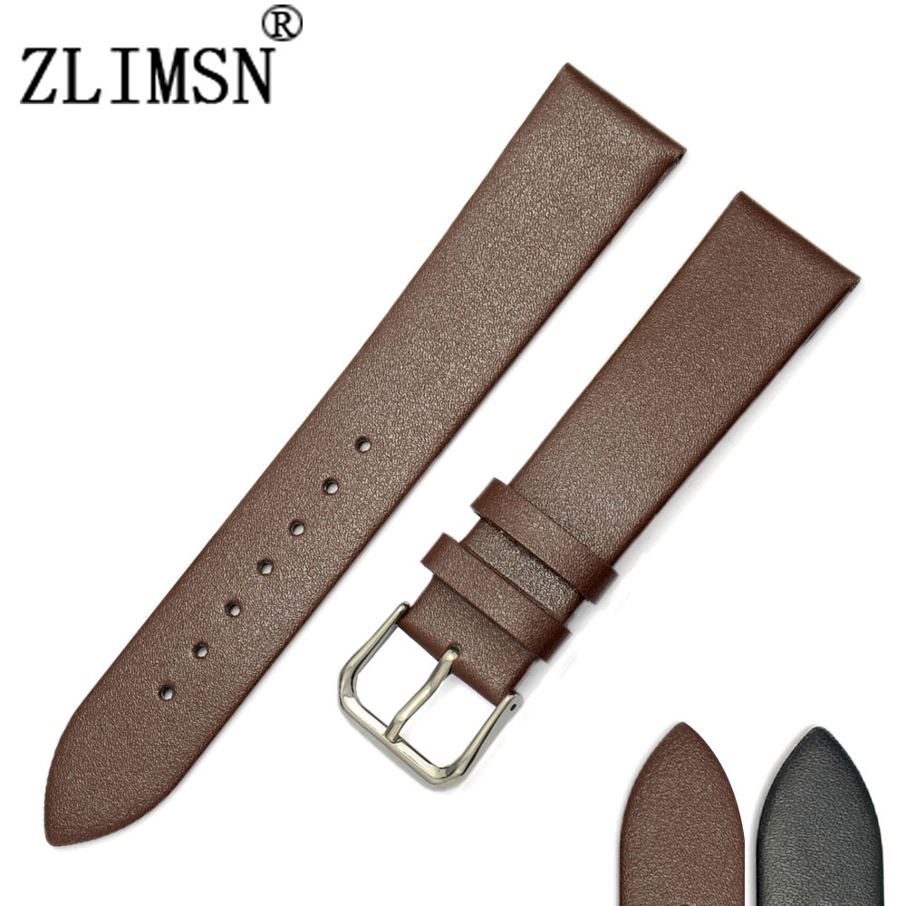 100% Genuine Solid Leather Black Brown Watchbands Smooth Thin Watch Band Strap Pin Buckle 18 20 22mm Relojes Hombre 2016