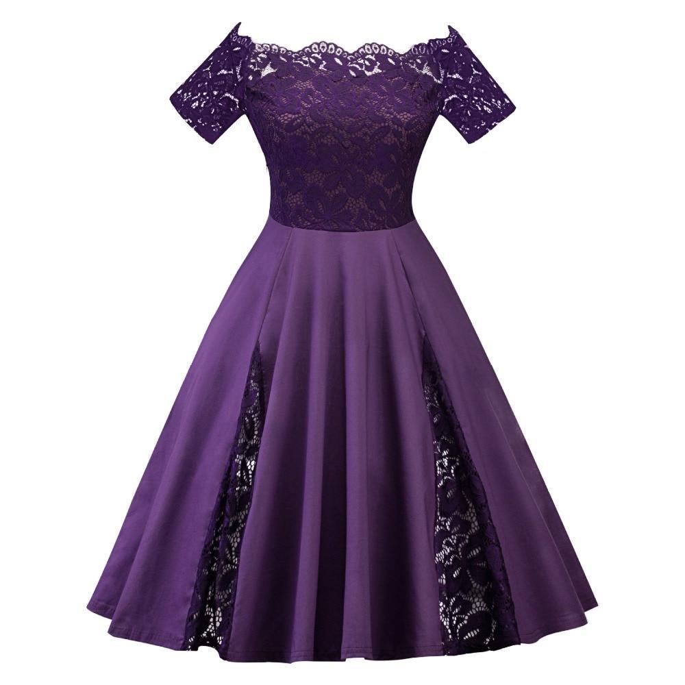 Women Elegant Lace Party A line Dress Plus Size 5XL Ladies Fashion Sexy Strapless Short Sleeve Slash neck Lace patchwork Dress