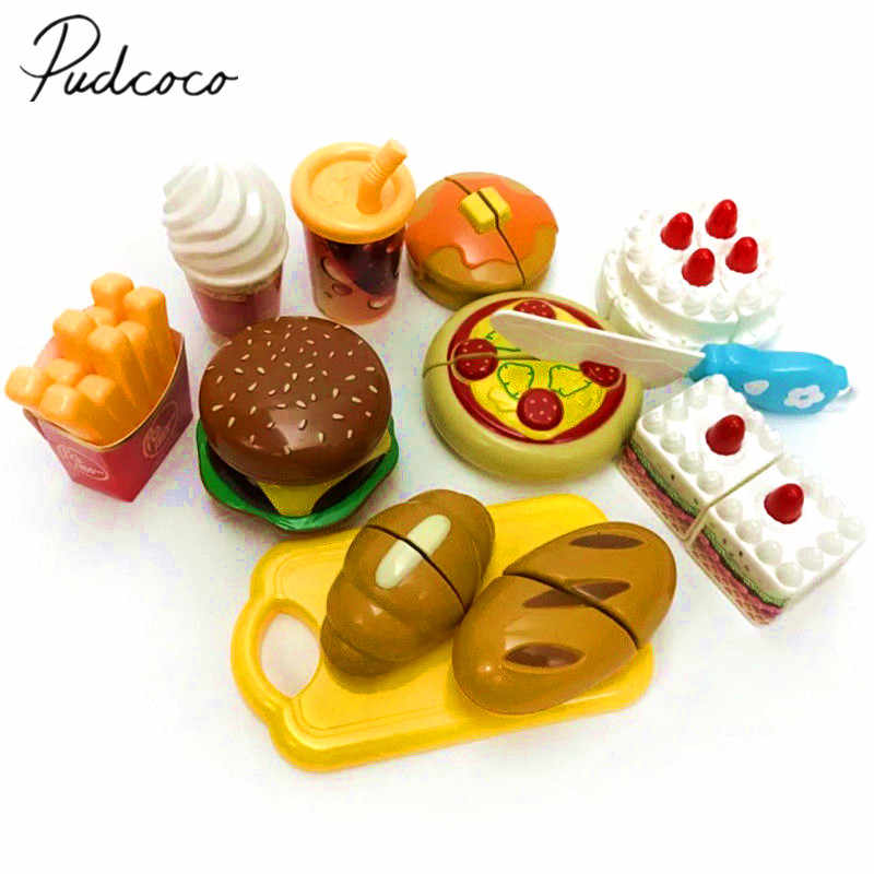 2018 Brand New Food Play Sets Kids Kitchen Hamburger Cakes Pizza Learning Toys Pots Pretend Toys Baby Kids Gift playset