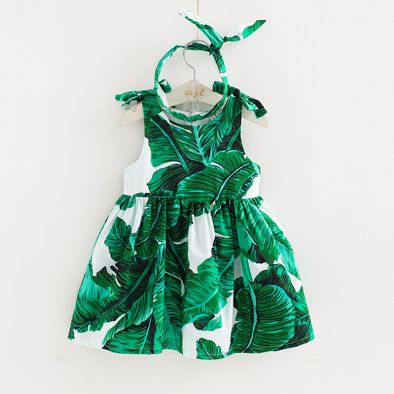 Brand Kids Girls Dress 2018 Summer Vest Sleeveless Dress Fashion Printing Pattern Baby Girls Dress Send Green Hair Bands Clothes