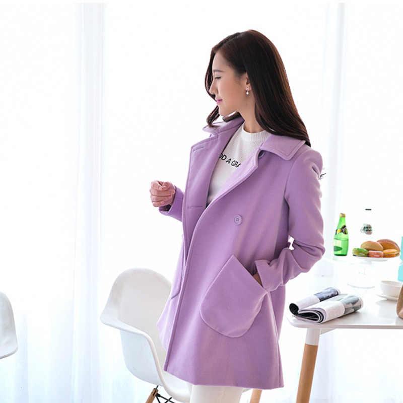 Женское осеннее пальто двубортное плотное шерстяное пальто с отложным воротником Женская куртка NYZ Shop