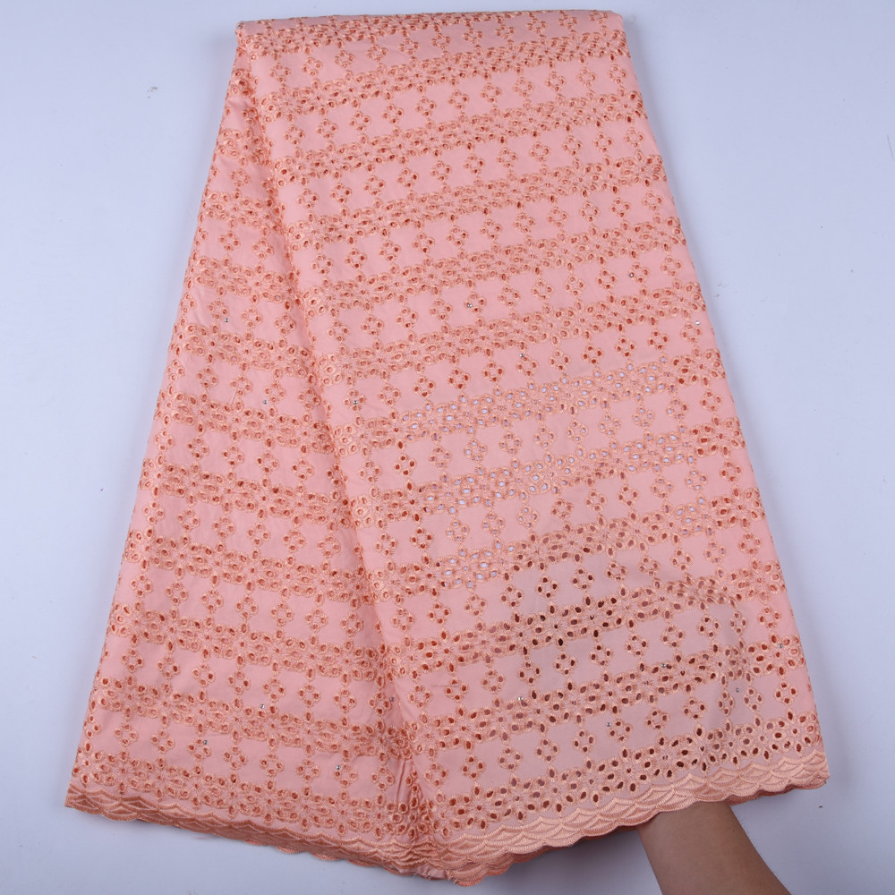 High Quality 100 Cotton African Swiss Voile Lace Fabric Peach Swiss Voile Lace In Switzerland 2019
