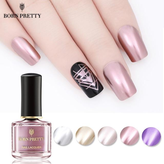 BORN PRETTY Metallic Nail Polish 6ml Mirror Effect Varnish Pink ...