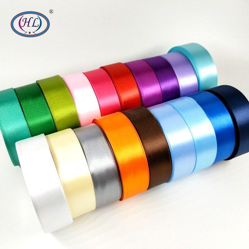 "HL 5 מטרים 1 ""(25 מ""מ) צבעים הרבה סאטן בצבע האחיד R006 מלאכות DIY סרטי חתונה דקורטיבי חגורת עטיפת קופסא מתנה"