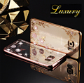 Flor del diamante de bling para samsung galaxy s5 s6 a5 a7 a8 a9 J5 J7 2015 2016 N3 4 5 Suave Claro TPU Tansparent Teléfono de Nuevo cubierta