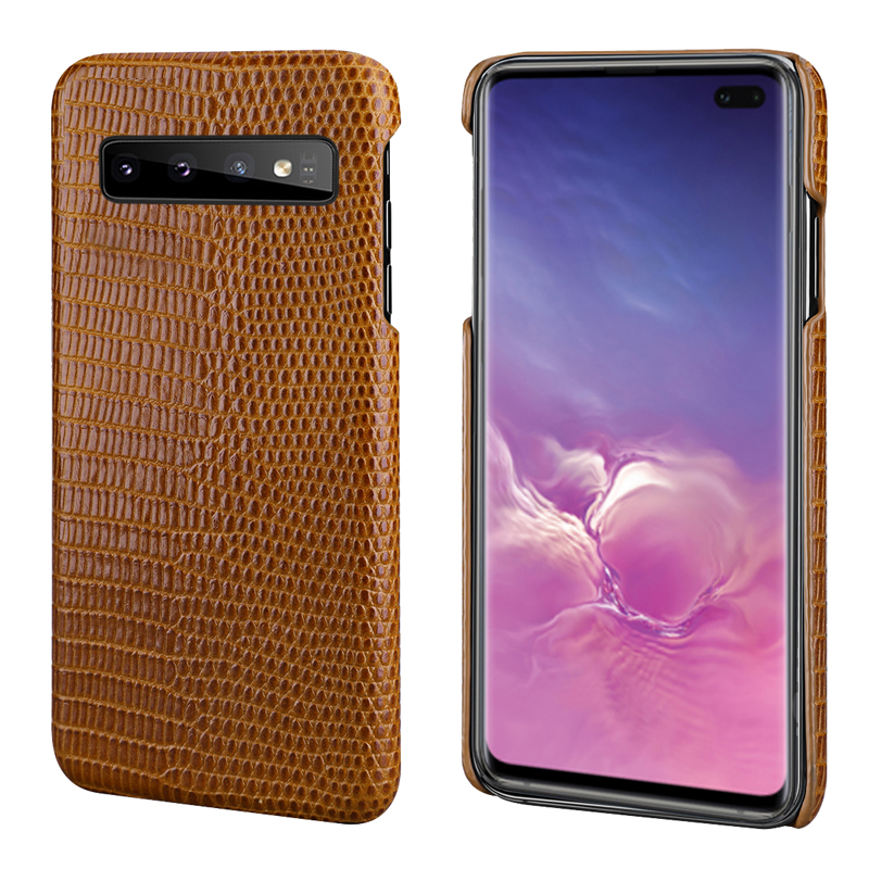 For Samsung S10 Phone Back Case Lizard Skin Genuine Leather Protective Case Business Smart Cover for Samsung Galaxy S10 Plus