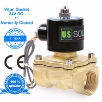 U.S. Solid 1 Brass Electric Solenoid Valve 24 V DC Normally Closed Viton Gasket Air, Water, Fuel, CE Certified