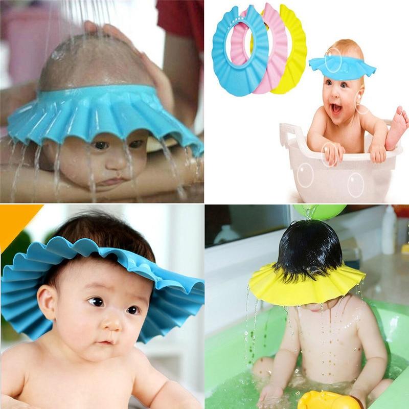 Шапки для душа для малышей, шапка для мытья волос, детские головные уборы с козырьком, регулируемый экран, водонепроницаемая шапка для защит...
