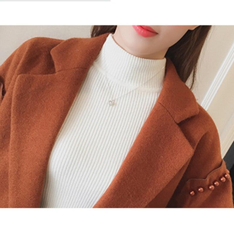 Lady 2018 Qualité De Mince Cachemire Long Perles Élégante Laine Mélange Beige orange Femmes Décor Manteau Veste Printemps Haute Cardigan Automne 4qwSq50r